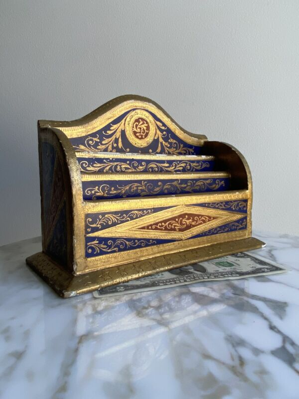 Antique 30s Florentine Gilt Wood Letter Holder/Box Desk Organizer-Italy/Italian