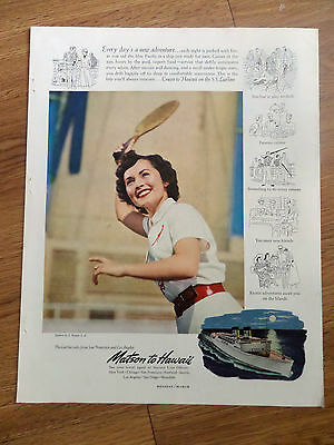 1951 Matson Cruise Line Ad Lurline Cruise To Hawaii