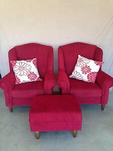 Wing Chairs (2) and Ottoman (1) Cranebrook Penrith Area Preview