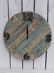 Large wooden wall clock reproduction pallet wood art french country home decor