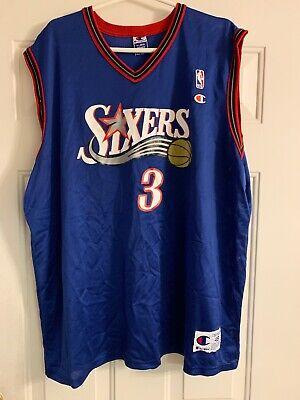 319a63882 Philadelphia 76ers Allen Iverson  3 Jersey Blue Sixers Adult Size 48 VTG