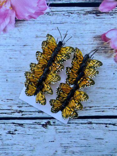 12 Feather Orange Monarch Butterflies 1inch- Artificial Monarch butterfly picks