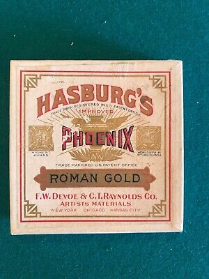 Vintage box of Hasburg's Phoenix artist painting material in Roman Gold.