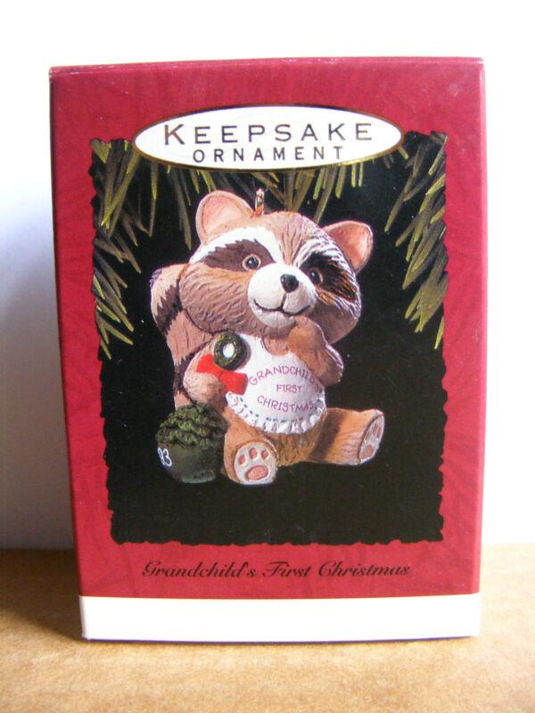 Hallmark Raccoon Grandchild's First Christmas Ornament 1993 Wildlife Charity