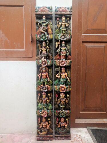 Dashavatar Vishnu Wall Panel Pair Vertical Vintage Hindu God Temple Decor Wooden