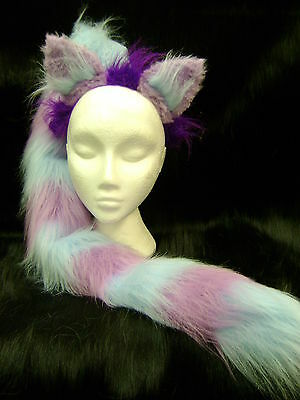 The Cheshire Cat Fancy Dress Ears And Tail Set Light Blue & Lilac 34
