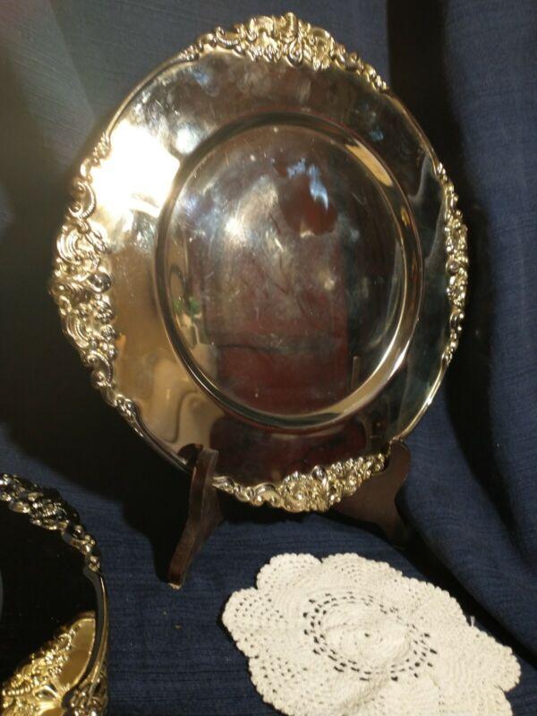 """Set of 8 Vintage Godinger Baroque Silverplate Charger 12-1/2""""D Ornate  Hong Kong"""