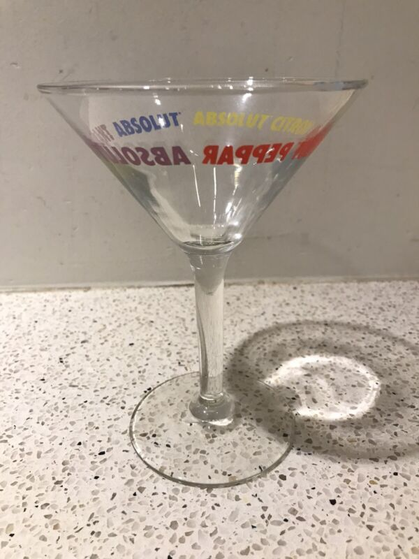 Absolut-Branded Vodka Martini Glasses with flavor labeling - Set of 4