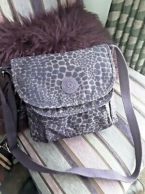 KIPLING PURPLE ANIMAL PRINT HANDBAG WITH CROSS BODY STRAP