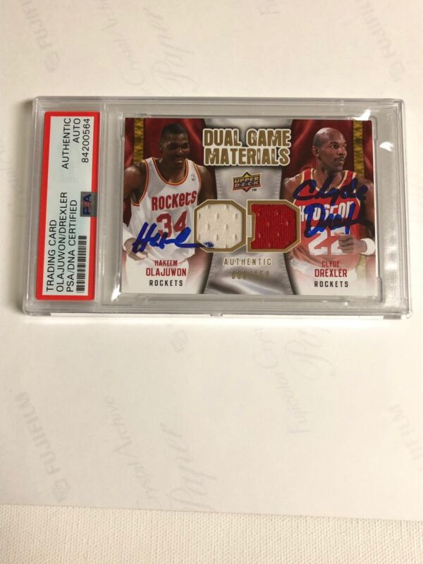 Autographed Hakeem Olajuwon An Clude Drexler UD Card PSA Signed Limited Edition