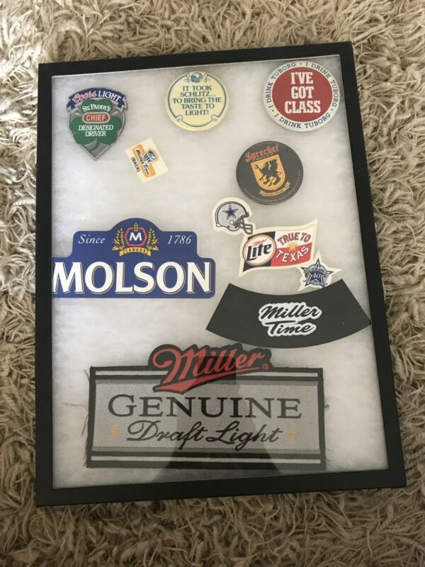 Beer Patches And Pins In A Frame. Miller, Coors, Molson, Schlitz, Sprecher