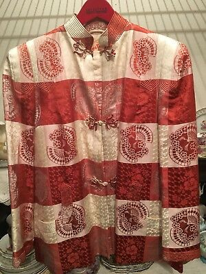 Vintage Ying Tai Co. Shanghai | Brocade Silk Jacket 1940s-50s Red Chinese Print