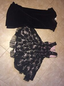 Christmas dresses size 10 and a large 6-7