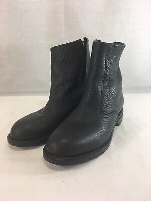 Iron Age Military Motorcycle Boots Side Zip Mens 7.5 Black Leather Steel Toe