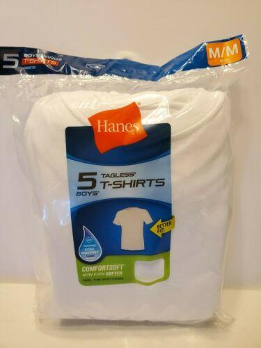 5 Hanes Boys White Undershirts T-shirts Tagless Comfort Soft-Size M (10-12) NEW