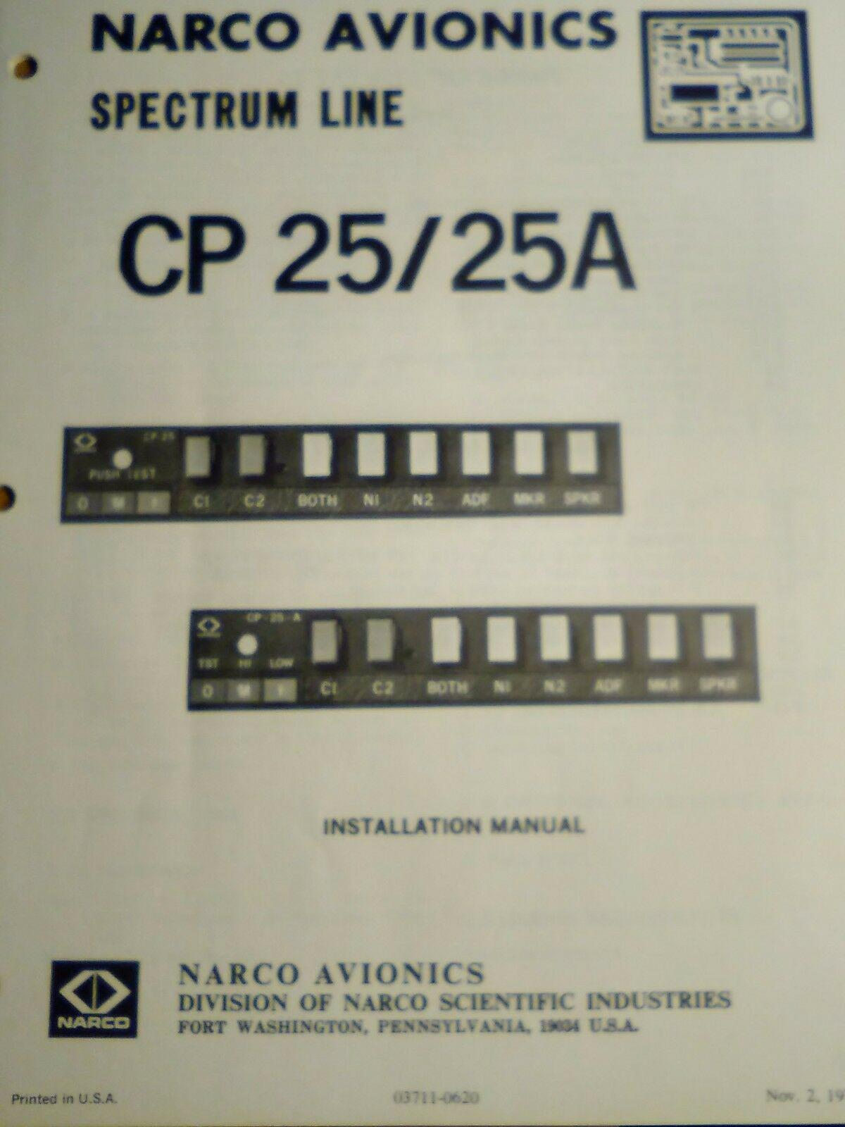 Narco CP-25 and CP-25A Audio Install Manual