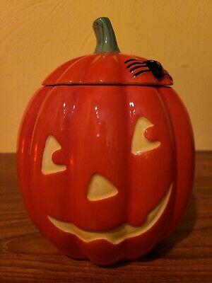 """HALLMARK 8"""" Halloween Pumpkin Jack-O-Lantern w/ Spider Ceramic Treat/Cookie Jar"""