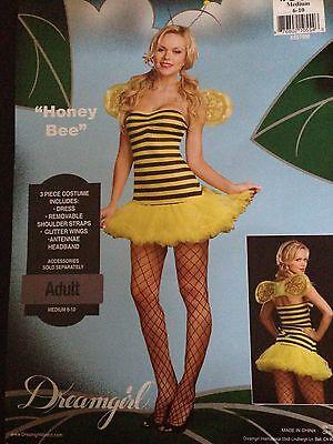 Sexy Woman's Honey Bee Costume Medium 6-10 Fancy Dress Dreamgirl  (Honey Bee Kostüm)