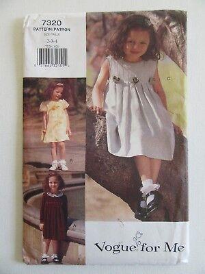 Vouge Pattern 7320 Toddler Girls 2-4 yrs Uncut A-Line Dress Mix & Match Seasons Toddler Line Dress Pattern