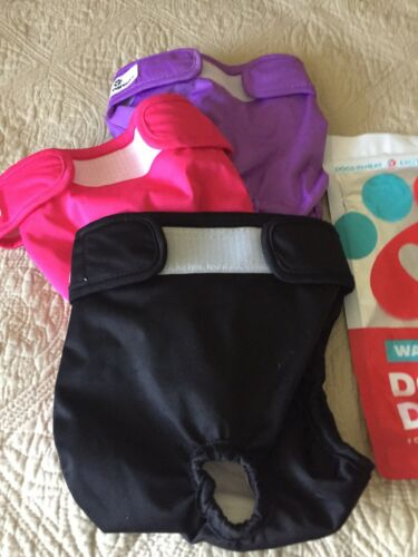 Pet Parents 3 Pack Of Washable Dog Diapers Sz M 1 New 2 Used Once  - $10.00