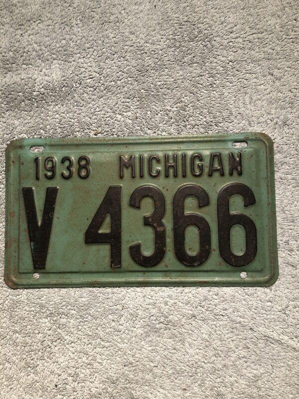 1938 Michigan License Plate V 4366