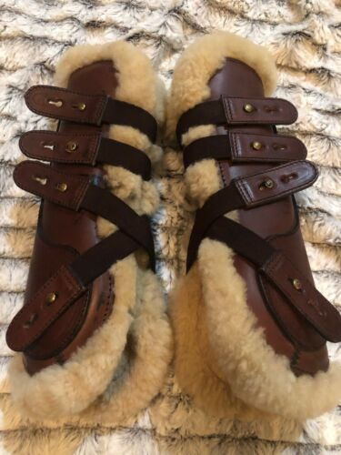 Beval LTD Sheepskin Lined Leather Open Front Jumping Boots Size 4