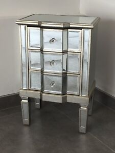 Venetian Mirrored 3 Drawer Bedside Table With Distressed Antique Silver Trim