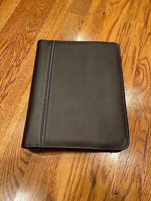 Classic 1.5 Franklin Covey Brown Full Grain Leather Zip Planner Binder 7 Ring