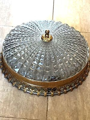 Ceiling Light Fitting, Flush Mount, Brass and Crystal, Plafonier, 32cm. (123)