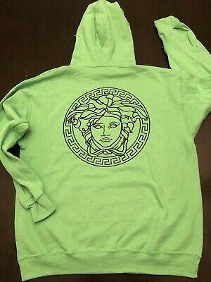 Versace Medusa Logo Hoodie Mens XXL Lime Green  Black Vinyl Sz 2XL