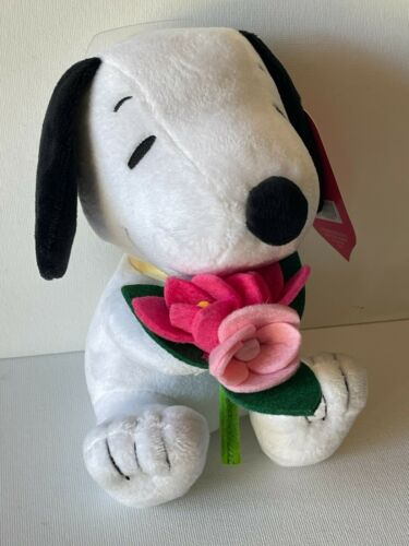 Hallmark Mothers Day Plush Toy ~ Stuffed Snoopy Holding Flower Bouquet