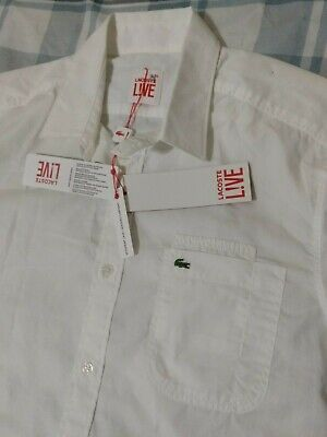 Brand new Lacoste live SS button up shirt white size 38 S