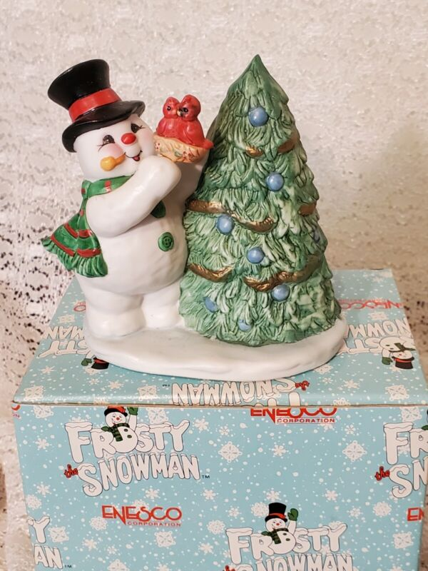 Vintage Enesco Frosty The Snowman Trimming The Tree Christmas Figurine