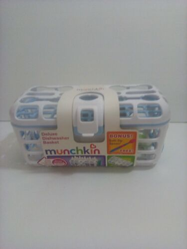 Munchkin Deluxe Dishwasher Basket Sanitize Accessories with Ease White w/Blue