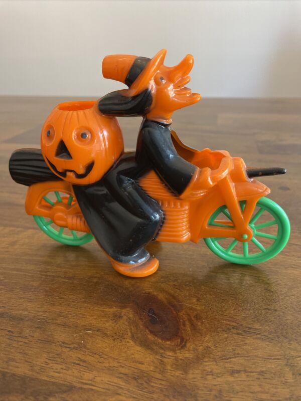 Vintage Rosbro Rosen Plastic Orange Halloween Witch and Pumpkin on Motorcycle