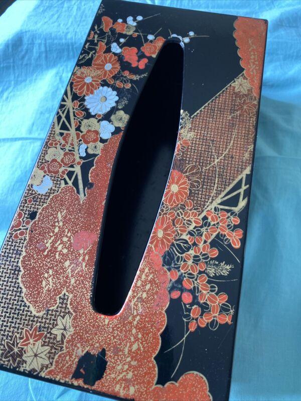 Vintage Japanese Black Lacquer/Lucite Tissue Large Dispenser Box Cover