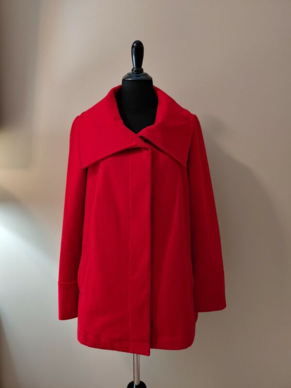 Excellent Old Navy Maternity Wool Blend Red Button Peacoat Coat Jacket Size L