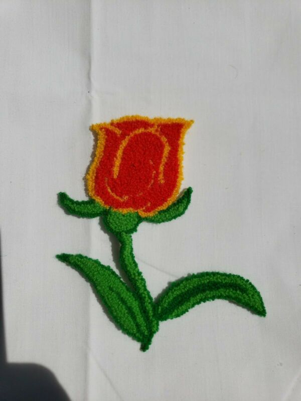Vintage Punch Needle Embroidery Tulip Flower Applique Patch Craft EUC