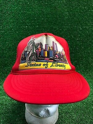 Vintage Red Statue Of Liberty Trucker Yellow Hat Cap WTC Twin Towers SnapBack