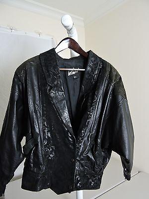 Winlit 100% Leather Black W/ Nylon Taffeta Lining Floral Design Moto Jacket - M ()