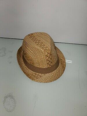 Light Brown Woven Straw HENSCHEL HAT CO Fedora Style Hat Mans large