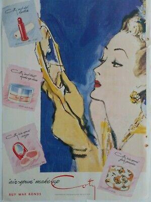 1943 Coty Airspun Cara Polvo Maquillaje Labial Rouge Cosmético Arte Anuncio
