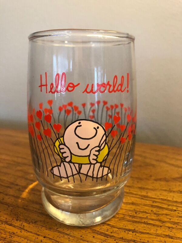 "VINTAGE 1979 ZIGGY GLASS 4"" TUMBLER ""HELLO WORLD"" FLOWERS & HEARTS 💕"
