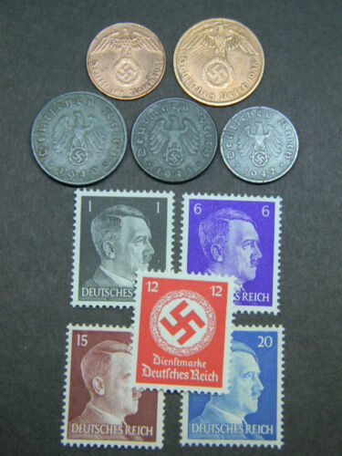 WW2 Authentic Rare German Coins and Unused Stamps World War 2 Artifacts