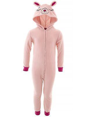 Saint Eve Girls Bunny Pink Fleece Hooded Blanket Sleeper One-Piece Pajamas
