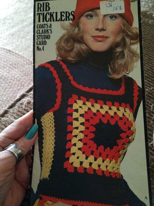 Rib Ticklers Coats & Clark's Studio Card No. 4 Vintage Crochet Pattern 1971