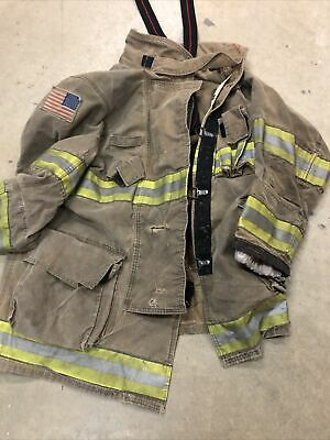 42x35 Globe Gxtreme Firefighter Turnout Jacket Brown Yellow Reflective 2014