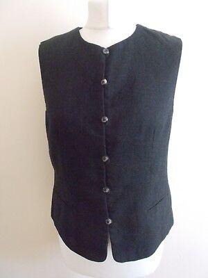Women's Dark Grey Textured  Waistcoat Vest By Jones New York Size 10 Us 14 UK
