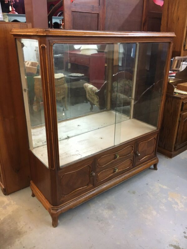 Beautiful French Antique Display Case W/ Mirrored Back Glass Doors Drawers RARE