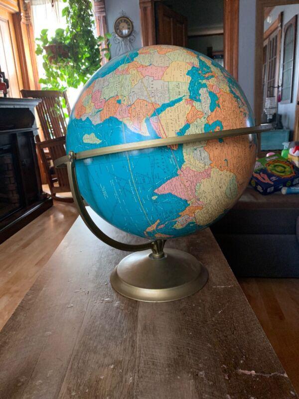 "HUGE!! antique   George F CRAMS 16"" Political Terrestrial world Globe. Art Deco."